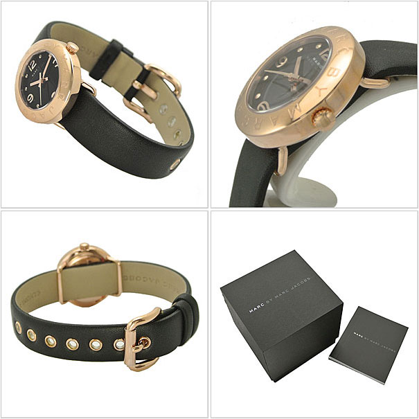 Marc by Marc Jacobs MARC BY MARC JACOBS watches ladies Small Amy small Amy black × pink / black leather MBM1227