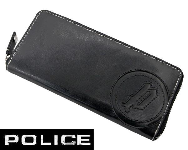 【ポリス POLICE】ラウンドファスナー ロングウォレット メンズ (長財布) BASIC IV バッファロー革 ブラック ポリス POLICE PA-59302-10