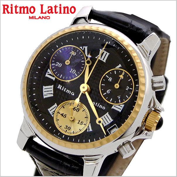 リトモラティーノ Ritmo Latino 腕時計 CLASSICO(クラシコ)クロノグラフ ラージサイズ ワニ革ベルト ブラック文字盤/メンズ リトモラティーノ DCRL33GS【送料無料】
