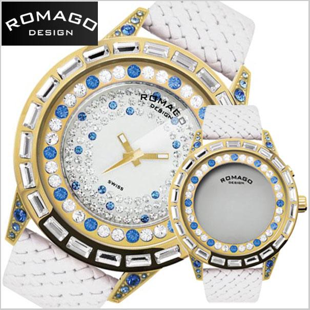ロマゴデザイン腕時計 ROMAGO時計 ROMAGO DESIGN 腕時計 ロマゴ デザイン 時計 DAZZLE(ダズル) ミラーウォッチ スワロフスキー/ゴールド x ブルー・牛革ベルト RM006-1477GD-BU【送料無料】