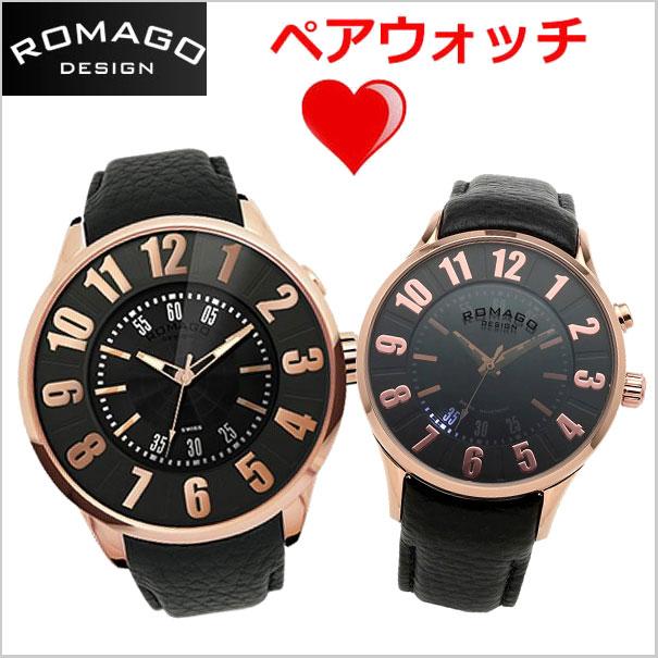 ロマゴデザイン ROMAGO DESIGN 腕時計 ペアウォッチ(2本セット)メンズ &レディース NUMERATION (ヌメレーション)ミラーウォッチ 牛革ベルト/ブラック x ローズゴールド文字盤 RM007-0053ST-RG RM068-0053ST-RG