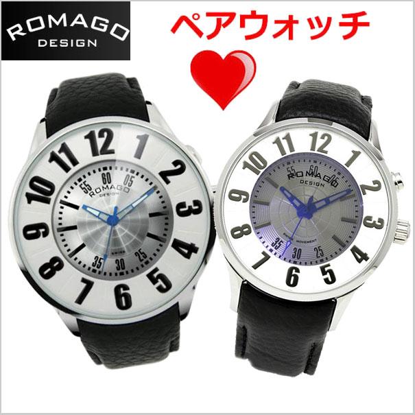 ロマゴデザイン ROMAGO DESIGN 腕時計 ペアウォッチ(2本セット)メンズ &レディース NUMERATION (ヌメレーション)ミラーウォッチ 牛革ベルト/ホワイト x シルバー文字盤 RM007-0053ST-SV RM068-0053ST-SV