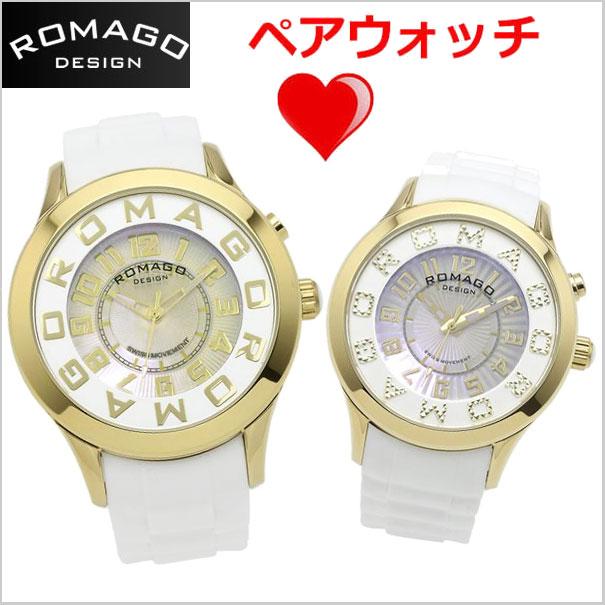 ロマゴデザイン ROMAGO DESIGN 腕時計 ペアウォッチ(2本セット)ATTRACTION (アトラクション)ミラーウォッチ シリコンラバーベルト メンズ &レディース RM015-0162PL-GDWH RM067-0162PL-GDWH