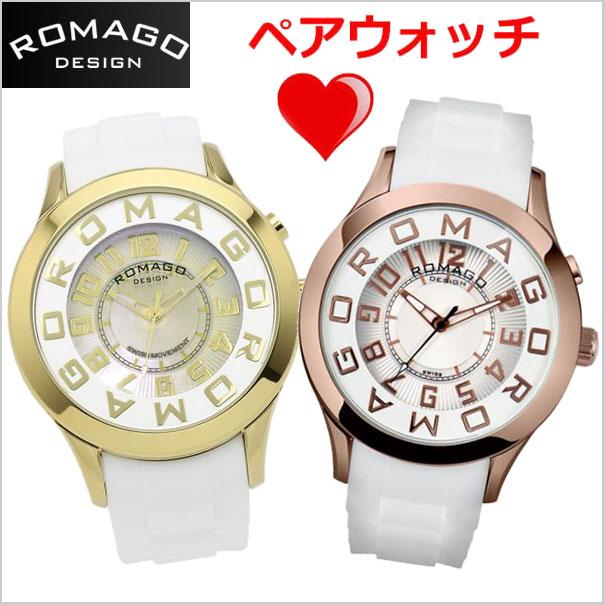 ロマゴデザイン ROMAGO DESIGN 腕時計 ペアウォッチ(2本セット)ATTRACTION (アトラクション)ミラーウォッチ シリコンラバーベルト 男女兼用・ユニセックスRM015-0162PL-GDWH RM015-0162PL-RGWH
