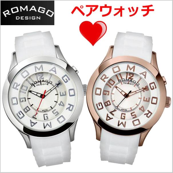 ロマゴデザイン ROMAGO DESIGN 腕時計 ペアウォッチ(2本セット)ATTRACTION (アトラクション)ミラーウォッチ シリコンラバーベルト 男女兼用・ユニセックスRM015-0162PL-SVWH RM015-0162PL-RGWH