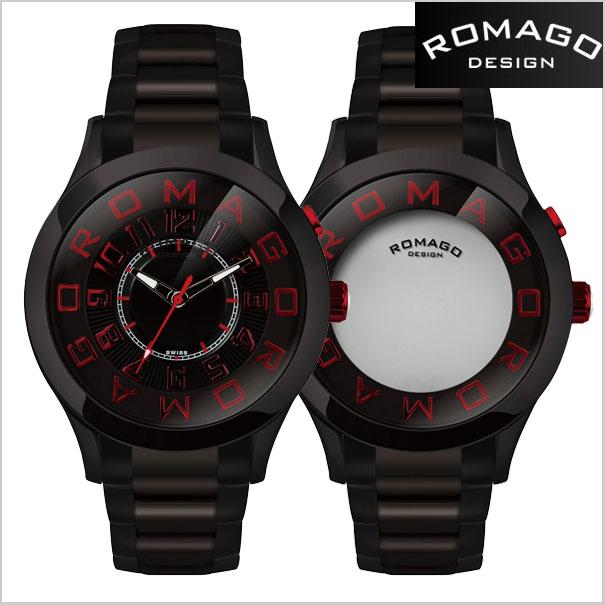ロマゴデザイン腕時計 ROMAGO時計 ROMAGO DESIGN 腕時計 ロマゴ デザイン 時計 ATTRACTION (アトラクション)ミラーウォッチ ステンレスベルト/ブラック x レッド文字盤 RM015-0162SS-BKRD【送料無料】