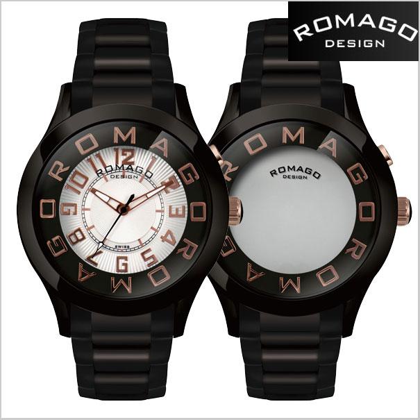 ロマゴデザイン 시계 ROMAGO 시계 ROMAGO DESIGN 시계 ロマゴ 디자인 시계 ATTRACTION (볼거리) 거울 시계 스테인리스 벨트/블랙 x 로즈 골드 다이얼 RM015-0162SS-BKRG