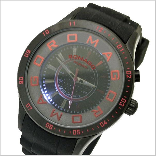 ロマゴデザイン腕時計 ROMAGO時計 ROMAGO DESIGN 腕時計 ロマゴ デザイン 時計 ATTRACTION (アトラクション)ミラーウォッチ シリコンラバーベルト/ブラック x レッド文字盤 RM015-0235PL-BK