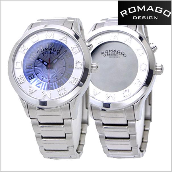 ロマゴデザイン腕時計 ROMAGO時計 ROMAGO DESIGN 腕時計 ロマゴ デザイン 時計 ATTRACTION (アトラクション)ミラーウォッチ ステンレスベルト/シルバー x ホワイト文字盤 レディース・ユニセックス RM067-0162SS-SVWH【送料無料】