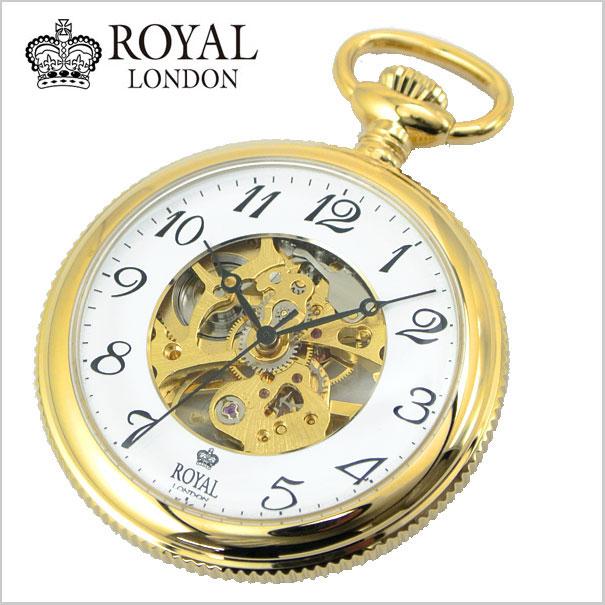 【ロイヤルロンドン】【ROYAL LONDON 】懐中時計 ポケットウォッチ/機械式(手巻き)スケルトン・メンズ・ゴールド(チェーン付) 90002-02【送料無料】