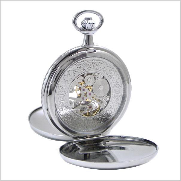 【ロイヤルロンドン】【ROYAL LONDON 】懐中時計 ポケットウォッチ/機械式(手巻き)蓋付き・両面スケルトン・メンズ・シルバー(チェーン付) ロイヤルロンドン 90004-02