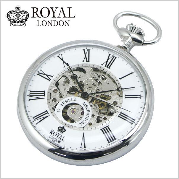 【ロイヤルロンドン】 【ROYAL LONDON 】懐中時計 ポケットウォッチ/機械式(手巻き)スケルトン・メンズ・シルバー(チェーン付) 90049-01【送料無料】