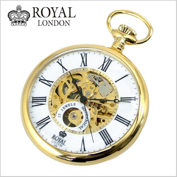 【ロイヤルロンドン】【 ROYAL LONDON 】懐中時計 ポケットウォッチ/機械式(手巻き)スケルトン・メンズ・ゴールド(チェーン付) 90049-02