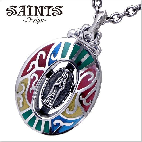 【SAINTS Design セインツ デザイン】ステンドグラスマリアペンダント/ネックレス シルバー925製 SSP8-82【送料無料】