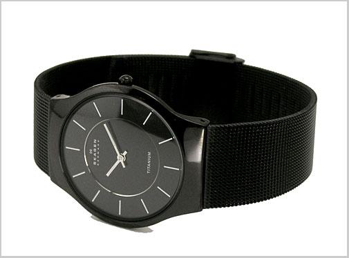 Ultra slim (Skagen) SKAGEN men's watch-titanium black IP (mesh-belt black letter Edition) 60% off 233LTMB