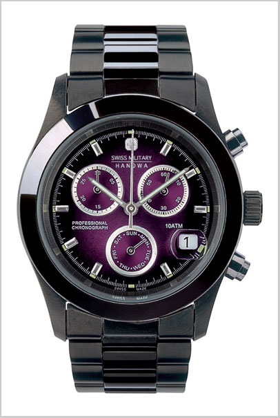 SWISS MILITARY (Swiss military) PVD BLACK big Chrono violet character Edition men's Swiss military ML-285