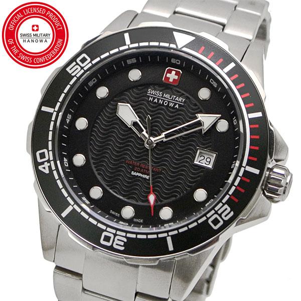 【クリーナープレゼント】スイスミリタリー 腕時計 SWISS MILITARY NEPTUNE DIVER ネプチュ-ンダイバー メンズ/ステンレスベルト ブラック文字盤 ML-443