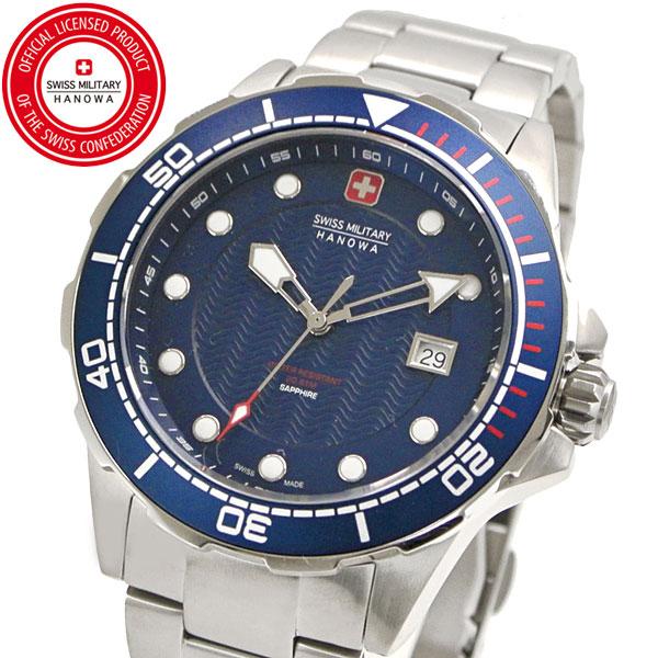 【クリーナープレゼント】スイスミリタリー 腕時計 SWISS MILITARY NEPTUNE DIVER ネプチュ-ンダイバー メンズ/ステンレスベルト ブルー文字盤 ML-444