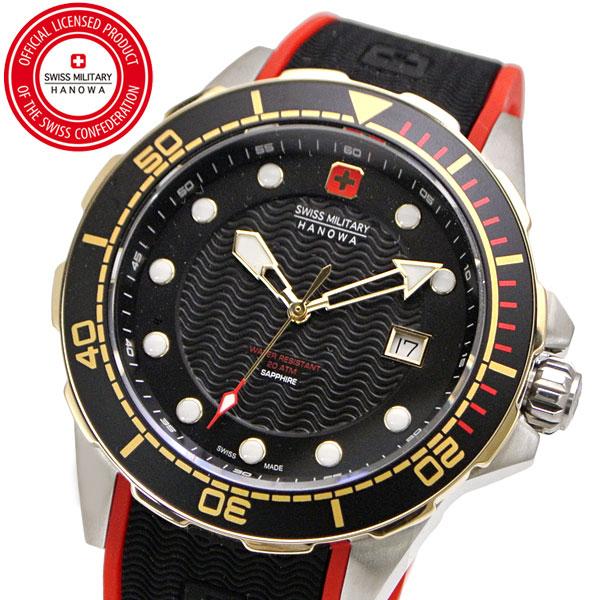 【クリーナープレゼント】スイスミリタリー 腕時計 SWISS MILITARY NEPTUNE DIVER ネプチュ-ンダイバー メンズ/シリコンベルト ブラック文字盤 ML-445