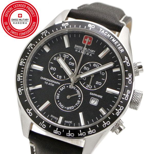 【クリーナープレゼント】スイスミリタリー 腕時計 SWISS MILITARY PHANTOM CHRONO ファントムクロノ メンズ/レザーベルト ブラック文字盤 ML-446