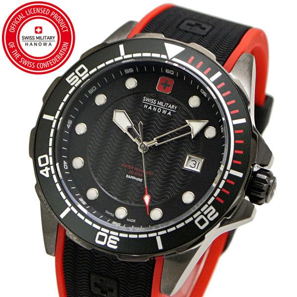 【クリーナープレゼント】スイスミリタリー 腕時計 SWISS MILITARY NEPTUNE DIVER PVD ネプチュ-ンダイバー メンズ/シリコンベルト ブラック文字盤 ML-451