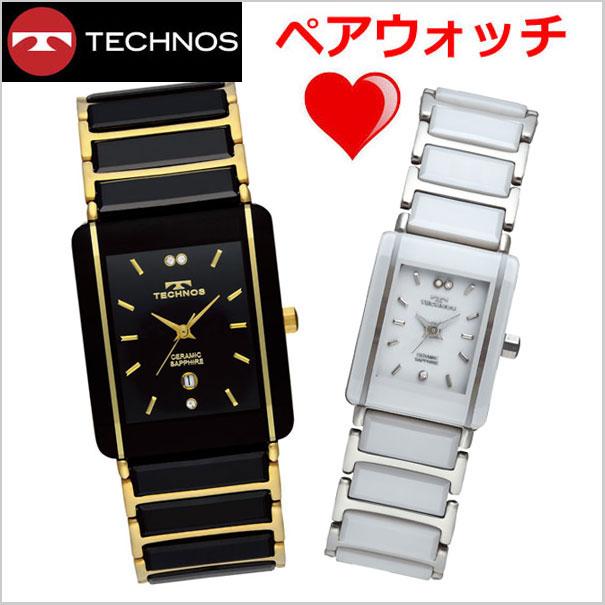 【テクノス】 TECHNOS 腕時計 ペアウォッチメンズ&レディース セラミック&ステンレススチール製 TSM903GB-TSL906TW【送料無料】