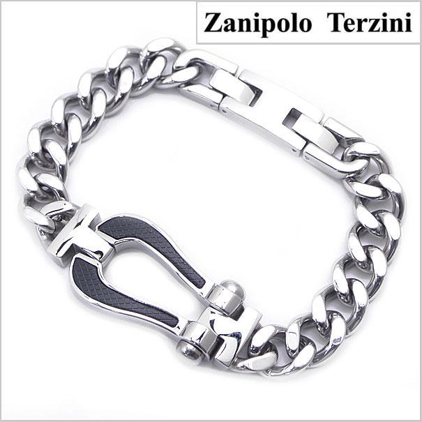 Zanipolo Terzini(ザニポロ・タルツィーニ)サージカルステンレス製 キヘイブレスレット 馬蹄モチーフ/メンズ・シルバー x ブラック ザニポロタルツィーニ ZTB1816-BK【送料無料】