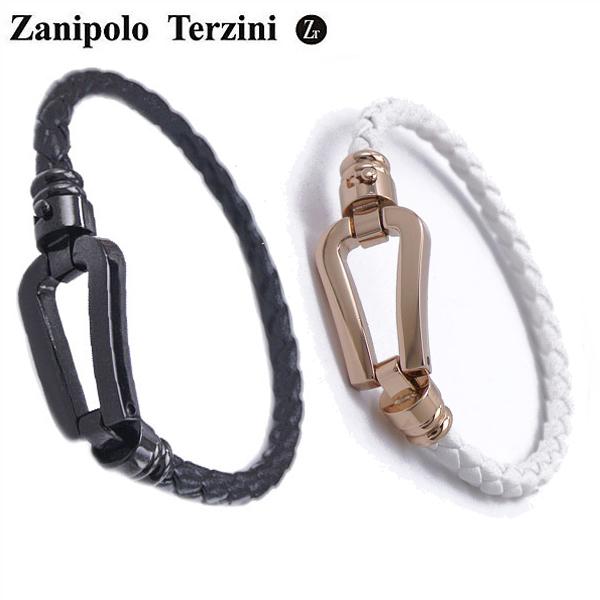 Zanipolo Terzini ザニポロ・タルツィーニ サージカルステンレス製 ペア 男女2本セット レザーブレスレット メンw0OZknN8PX