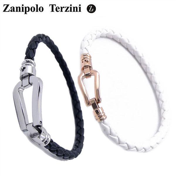 Zanipolo Terzini(ザニポロ・タルツィーニ)サージカルステンレス製 ペア(男女2本セット)レザーブレスレット メンズ & レディース ザニポロタルツィーニ ZTB2610-SSBK-SRGWH