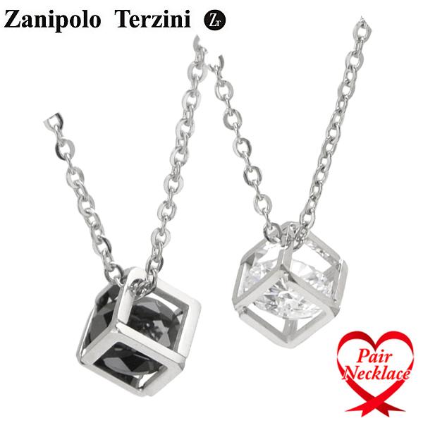 Zanipolo Terzini(ザニポロ・タルツィーニ)ペアネックレス/ペンダント(2本セット) ブラックキュービックジルコニア メンズ・レディース ユニセックス サージカルステンレス製 ZTP3811-BKWH-PA