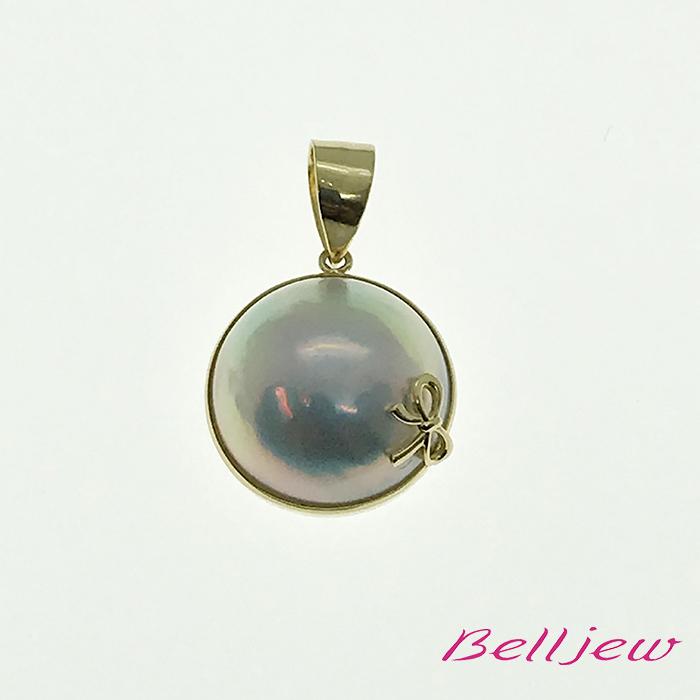 【送料無料】Belljew ベルジュ ペンダントトップ マベパール マベ真珠 リボン