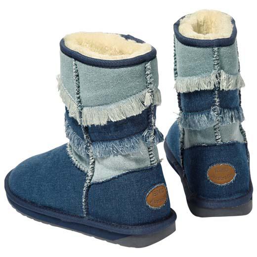ブーツ W6(23.0cm) W7(24.0cm) W8(25.0cm) <EMU(エミュ)>フリンジデザインデニムブーツ(W6(23.0cm)~W8(25.0cm)) ベルーナ 30代 40代 50代 レディース ラナン Ranan ファッション 秋冬 秋服 冬服 ブーツ 靴