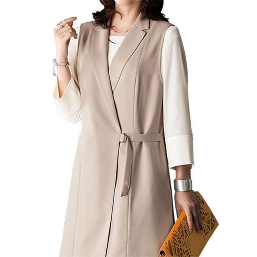 【クーポン配布中】ベスト&ブラウスアンサンブル<アルジャーニ>(3L~5L) ベルーナ ルフラン 40代 50代 60代 レディース 女性 ミセス ファッション 大きいサイズ 七五三 入学式 結婚式