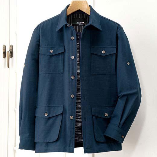 ジャケット S M LL L 3L ざっくり木綿の多ポケットジャケット ベルーナ 40代 50代 60代 紳士 夏服 ファッション メンズ メンズライフ ファッション ジャケット おじいちゃん プレゼント 小さいサイズ 【在庫残りわずか】