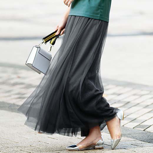 スカート 5L 4Lロングチュールスカート(4L~5L) ベルーナ ラナン 夏 夏服 30代 40代 ファッション レディース 大きいサイズ スカート ボトムス ロング チュールスカート ウエストゴム 白 黒 グレー