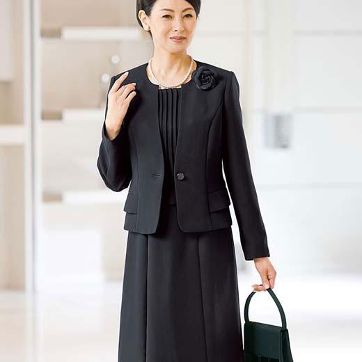 ブラックフォーマル 23ABR 21ABR 19ABR【3点セット】洗えるラク伸びワンピース3点セット(ネックレス・コサージュ付)(19ABR~23ABR) ベルーナ 40代 50代 60代 レディース ミセス ファッション 大きいサイズ 夏服 喪服 スーツ