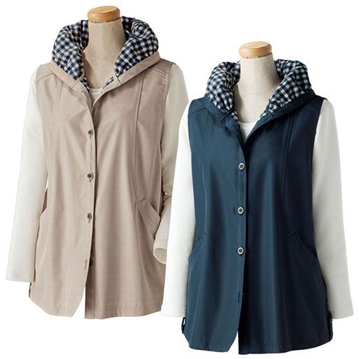【2色組】ボンディング裏プリントベスト<クラー>(3L~6L) ベルーナ 40代 50代 60代 レディース ミセス ファッション 大きいサイズ