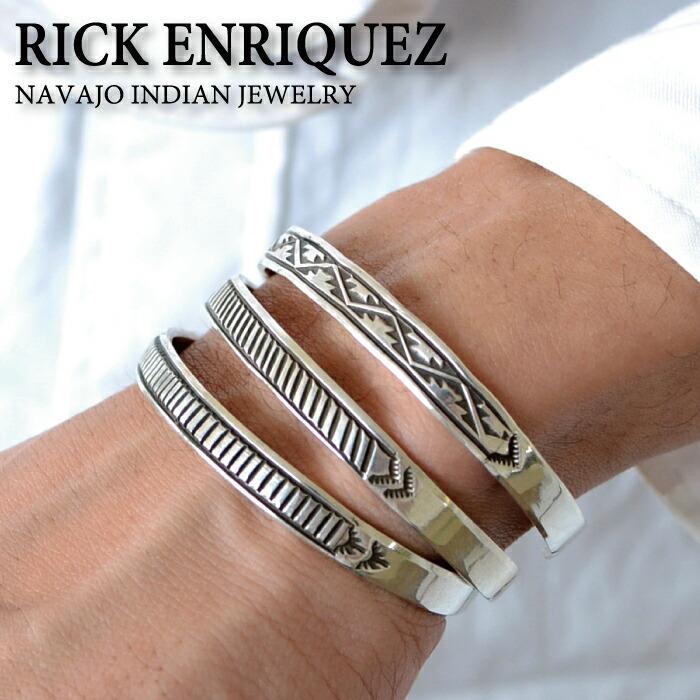 Rick Enriquez/リックエンリケ インディアンジュエリー 『スタンプワークナローバングル』【 バングル ブレスレット メンズ レディース シルバー アクセサリー ブランド ナバホ族 送料無料】