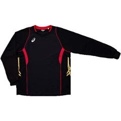 【5%offクーポン(要獲得) 12/26 9:59まで】 バレーボール用 ゲームシャツLS XW1315 [カラー:ブラック×Vレッド] [サイズ:O] #XW1315 【アシックス: スポーツ・アウトドア バレーボール ウェア】【ASICS】
