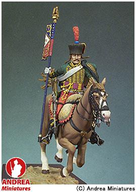 【アンドレア・ミニチュアズ】 ナポレオン戦争 54mm S7-F11 フランス 軽騎兵(ユサール) 旗手 (騎馬) 【玩具:模型:人物】【ナポレオン戦争 54mm】【ANDREA MINIATURES】