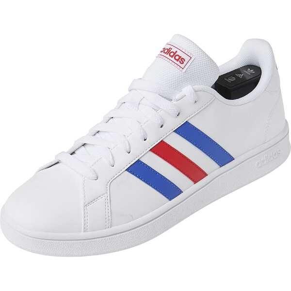 【アディダス】 GRANDCOURT BASE [サイズ:25.0cm] [カラー:ランニングホワイト×ブルー×レッド] #EE7901 【靴:メンズ靴:スニーカー】【ADIDAS】