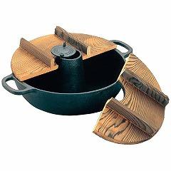 【アサヒ】 鉄 しゃぶしゃぶ鍋 S-9-70 木蓋付 【キッチン用品:調理用具・器具:しゃぶしゃぶ鍋:IH/ガス両方対応】【鉄 しゃぶしゃぶ鍋】【ASAHI】