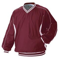 野球用 ジャンパー(Vネック・長袖) 高校野球ルール対応品 [カラー:エンジ×ホワイト] [サイズ:L] #BOV300
