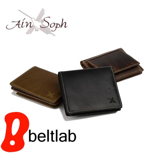 【アインソフ Ain Soph ショートウォレット】まるでオールドレザー、ボックス型の大きな小銭入れが使いやすい二つ折り財布。独特のプルアップが渋い、イタリア製オイルレザーの素材感がたまらない。「DA1031-SAG」