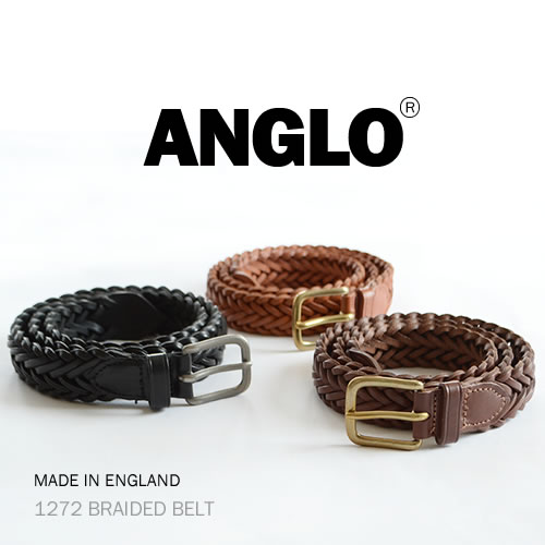 【ANGLO アングロ ベルト メッシュベルト 送料無料】1272 BRAIDED BELT HEAVY LEATHER 重厚感のある「革」を感じることができる ANGLO、メンズ、レディースに、1本1本ハンドメイドで仕上げた本革ベルト ANGLO アングロ