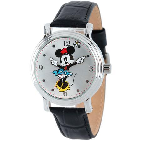 【1-2日以内に発送】ディズニー Disney ミニーマウス 腕時計 ケース ヴィンテージ ビンテージ 大人 女性用 レディース [並行輸入品] Minnie Mouse Women's Shinny Silver Vintage Articulating Alloy Case Watch, Black Leather Strap クリスマス 誕生日 プレゼント ギ