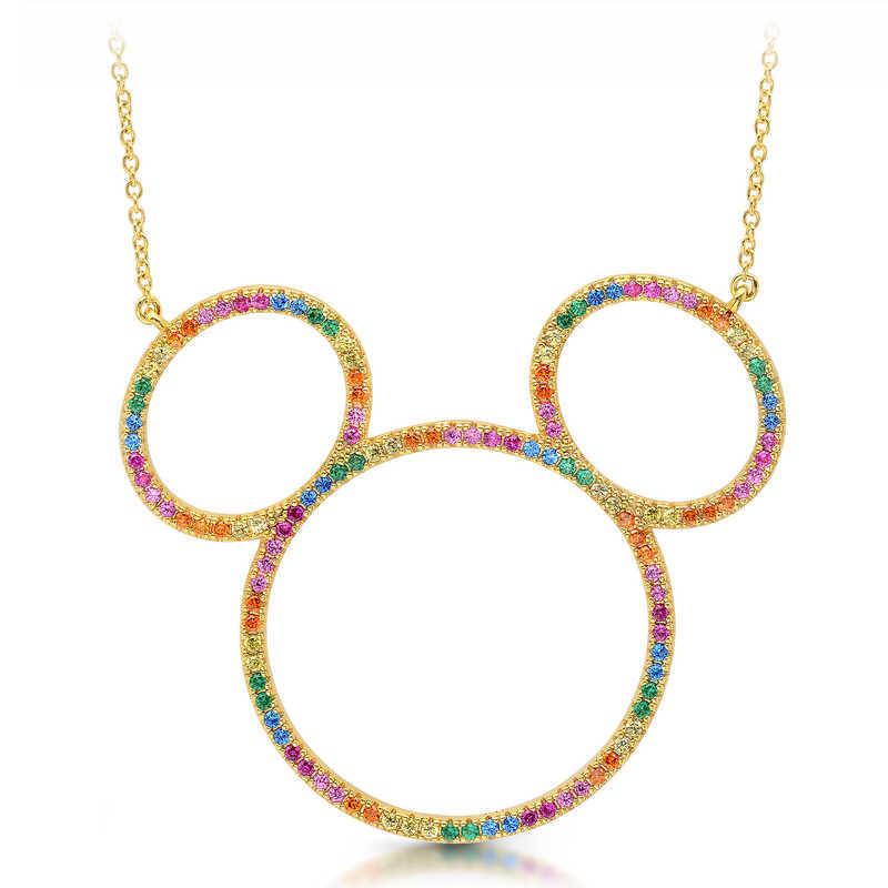 【取寄せ】 ディズニー Disney US公式商品 ミッキーマウス ミッキー ネックレス ジュエリー アクセサリー リボン クリスル CRISLU [並行輸入品] Mickey Mouse Rainbow Icon Outline Necklace by グッズ ストア プレゼント ギフト 誕生日 人気 クリスマス 誕生日 プレゼント