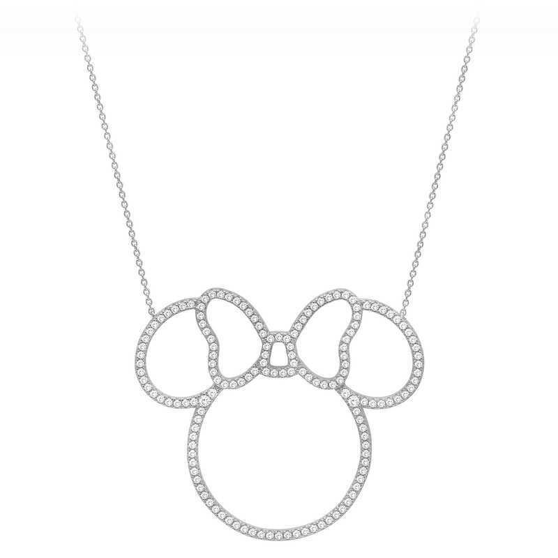 【取寄せ】 ディズニー Disney US公式商品 ミニーマウス ミニー ネックレス ジュエリー アクセサリー クリスル CRISLU [並行輸入品] Minnie Mouse Pave Icon Outline Necklace by グッズ ストア プレゼント ギフト 誕生日 人気 クリスマス 誕生日 プレゼント ギフト