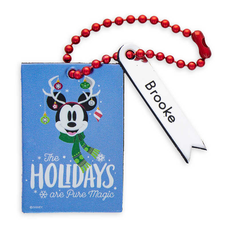 Magic carrier bag bag bag suitcase trip bag Santa tag [parallel import  goods] Santa Mickey Mouse ''The Holidays Are Pure Magic'' Leather Luggage  Tag -