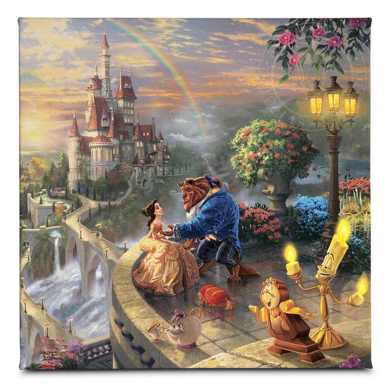 【取寄せ】 ディズニー Disney US公式商品 美女と野獣 ベル プリンセス トーマスキンケード 野獣 Thomas Kinkade キャンバス [並行輸入品] 'Beauty and the Beast Falling in Love'' Gallery Wrapped Canvas by グッズ ストア プレゼント ギフト クリスマス 誕生日 人気